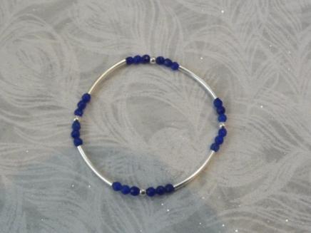 bracelet élastique argent et agate réf : 4059 B prix : 29€